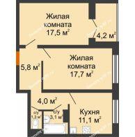 2 комнатная квартира 62,8 м² в ЖК Лазурный, дом 30 позиция - планировка