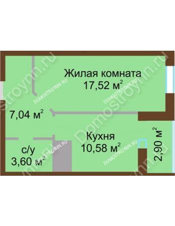 1 комнатная квартира 41,64 м² в ЖК Красная поляна, дом № 8