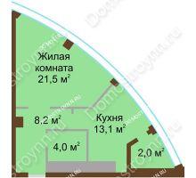 1 комнатная квартира 48,8 м² в ЖК Монолит, дом № 89, корп. 1, 2