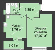 1 комнатная квартира 41,1 м² в ЖК Парк Горького, дом 62/2, №4