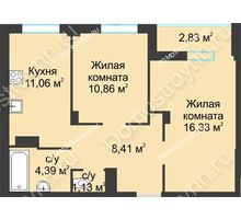 2 комнатная квартира 55,01 м² в ЖК На Вятской, дом № 3 (по генплану)