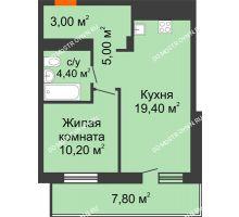 1 комнатная квартира 45,9 м², ЖК Корица - планировка
