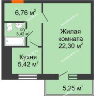1 комнатная квартира 40 м² в ЖК Боярский двор Премиум, дом 2 очередь - планировка