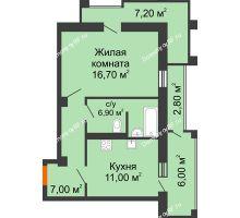 1 комнатная квартира 49,6 м², ЖК Утро - планировка