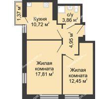 2 комнатная квартира 50,8 м², ЖК Соборный - планировка