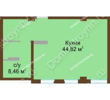 1 комнатная квартира 54,8 м² в ЖК Дом с террасами, дом № 1