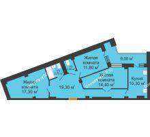 3 комнатная квартира 83,3 м² в ЖК Манхэттен О2, дом Дом 2 - планировка