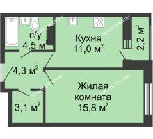 1 комнатная квартира 39,8 м² в ЖК Октава, дом №2 - планировка