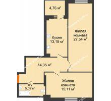 2 комнатная квартира 81,58 м², ЖК Максим Горький - планировка