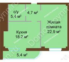 1 комнатная квартира 56,6 м², ЖК Бояр Палас - планировка