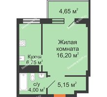 1 комнатная квартира 36,75 м², ЖК Вершина - планировка
