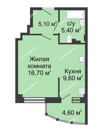 1 комнатная квартира 41,4 м² в ЖК Мега, дом № 2
