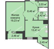 1 комнатная квартира 49,52 м² - ЖК Сергиевская Слобода