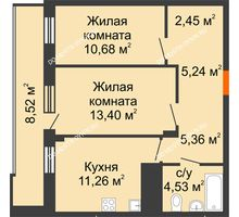 2 комнатная квартира 57,18 м² в ЖК Циолковский, дом № 5 - планировка