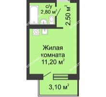 Студия 18,1 м² в ЖК Мега, дом № 8 - планировка