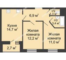 2 комнатная квартира 50,85 м² в ЖК Цветы, дом № 10 - планировка