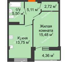 1 комнатная квартира 44,74 м² в Жилой район Берендей, дом № 14 - планировка