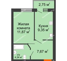 1 комнатная квартира 34,6 м² в ЖК Артемовский квартал, дом Секция 9 - планировка