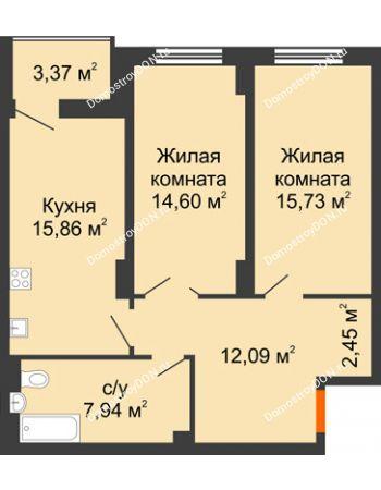 2 комнатная квартира 70,36 м² в ЖК Аврора, дом № 3