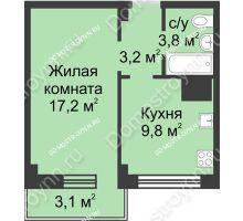 1 комнатная квартира 37,1 м² в ЖК Зенит, дом д. 7 - планировка