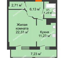1 комнатная квартира 53,92 м² в ЖК Покровский, дом № 1 - планировка