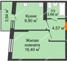 1 комнатная квартира 35,71 м², ЖК Сограт - планировка