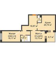2 комнатная квартира 77,98 м² в ЖК Новоостровский, дом № 2 корпус 2 - планировка