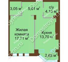 1 комнатная квартира 44,2 м² в ЖК Сердце Нижнего, дом № 36 - планировка