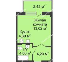 Студия 27,62 м² в ЖК Соловьиная роща, дом № 5 - планировка