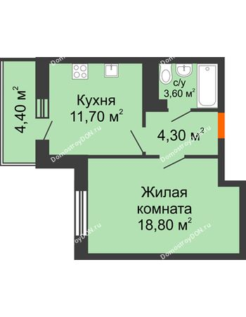 1 комнатная квартира 40,6 м² в ЖК Я, дом  Литер 2