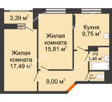 2 комнатная квартира 58,47 м², Жилой дом: ул. Сухопутная - планировка