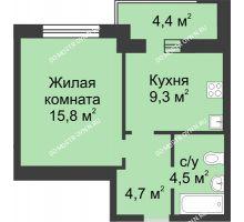 1 комнатная квартира 36,5 м² в ЖК Аквамарин, дом №2