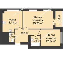 2 комнатная квартира 60,68 м² в ЖК Парк Горького, дом 62/2, №4