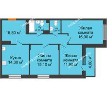 3 комнатная квартира 82,9 м² в ЖК Цветы 2, дом № 4 - планировка