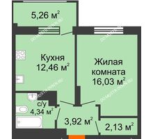 1 комнатная квартира 40,46 м² в ЖК Маленькая страна, дом № 4 - планировка