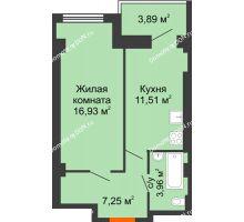 1 комнатная квартира 42,8 м², ЖК Уютный дом на Мечникова - планировка