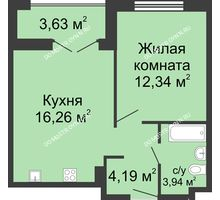 1 комнатная квартира 38,54 м² в ЖК Клевер, дом № 1 - планировка