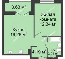 1 комнатная квартира 38,54 м² в ЖК Клевер, дом № 2