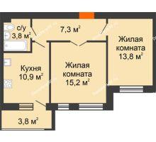 2 комнатная квартира 54,8 м² в ЖК Славутич, дом ГП-1 - планировка