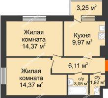 2 комнатная квартира 50,8 м², Жилой дом: г. Дзержинск, ул. Буденного, д.11б - планировка