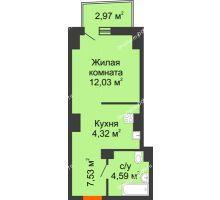 Студия 29,04 м² в ЖК Город у реки, дом Литер 7 - планировка