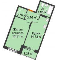 1 комнатная квартира 43,99 м² в ЖК Мандарин, дом 2 позиция 5-8 секция - планировка