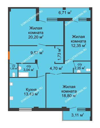 3 комнатная квартира 91,81 м² - Жилой дом: г. Арзамас, ул. Матросова, д. 13