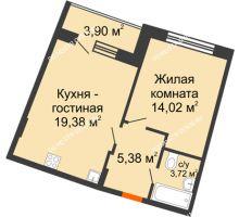 1 комнатная квартира 44,45 м² в ЖК Ватсон, дом № 3 - планировка