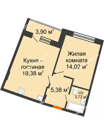 1 комнатная квартира 44,45 м² в ЖК Ватсон, дом № 3