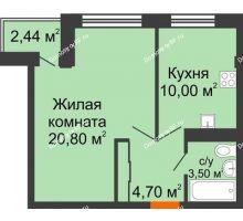 1 комнатная квартира 39,61 м² в ЖК Европа-сити, дом Литер 5 - планировка