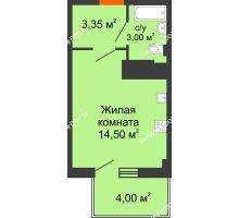 Студия 22,05 м² в ЖК Грин Парк, дом Литер 2 - планировка