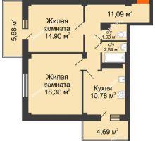 2 комнатная квартира 62,94 м², ЖК Военвед-Парк - планировка