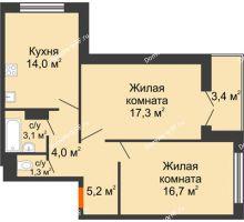 2 комнатная квартира 63,3 м², Жилой дом по ул.Минской 43/3 - планировка