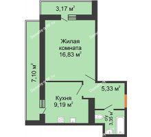1 комнатная квартира 34,71 м² в ЖК Рекорд, дом 2 этап - планировка
